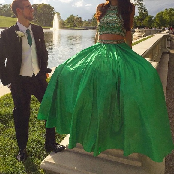 Sherri Hill Dresses & Skirts - Sherri Hill Green Two Piece Prom Dress